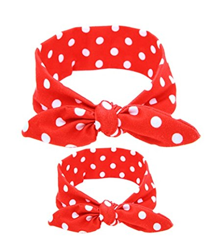 (Shimmer Anna Shine Mommy and Me Matching Cotton and Spandex Stretch Headbands (Red Polka)