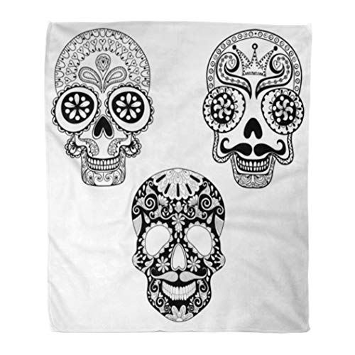 Emvency Throw Blanket Warm Cozy Print Flannel Zentangle Patterned Skulls for Halloween Adult Coloring Pages Freehand Comfortable Soft for Bed Sofa and Couch 50x60 -