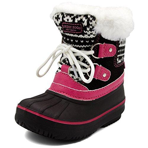 London Fog Girls Toddler Tottenham Cold Weather Snow Boot BK/PK Size 6 Toddler Black/Pink