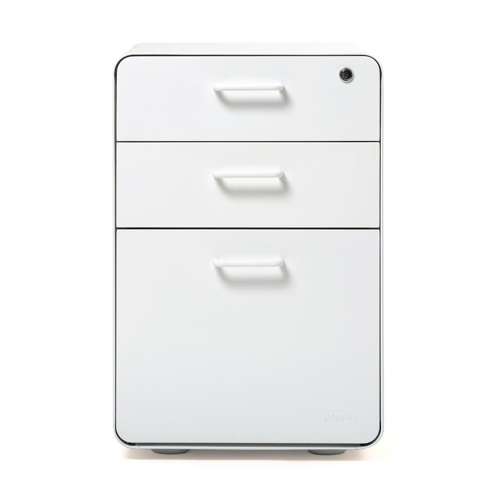 Amazon.com : Poppin White Stow 3-Drawer File Cabinet, Available in ...