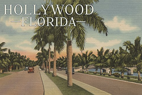 Hollywood, Florida - Boulevard and Vintage Cars - Vintage Postcard (24x36 SIGNED Print Master Giclee Print w/ Certificate of Authenticity - Wall Decor Travel (Boulevard Postcard)
