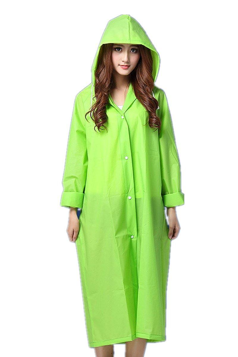 ANBOVER Unisex Portable Eva Raincoat Poncho Fashion Hooded Long Rain Jacket