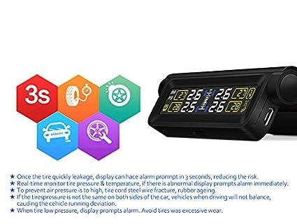 t680-wf Solar TPMS automático coche presión de los neumáticos sistema de Monitor + 4 Sensor Externo pantalla LCD: Amazon.es: Coche y moto