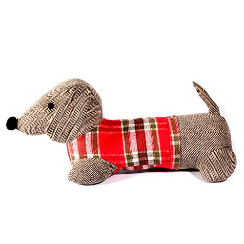 "Monami Mon AMI Dachshund Plush Door Stopper, Grey with Red Plaid Sweater, 16"", Adorable Decorative Doorstop, Trendy Home Decor, Classy Pet Themed Household Fabric Doorstop, Multicolor"