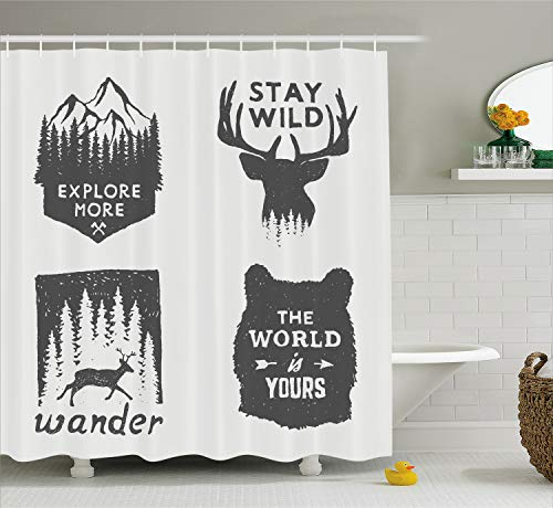 Ambesonne Shower Curtain Decor, Wilderness Emblems Sign Stay Wild Wander The World is Your Arrow Pine Image Print, Fabric Bathroom Shower Curtain Set with Hooks, Dimgray Platinum -