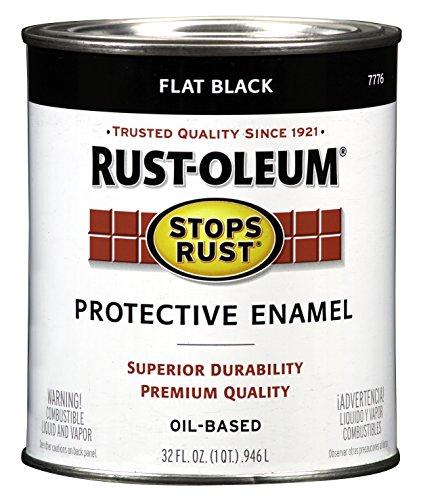 - Rust-Oleum 7776502 Protective Enamel Paint Stops Rust, 32-Ounce, Flat Black