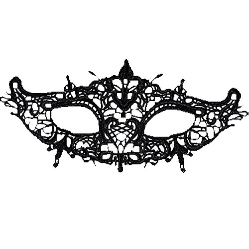Lankcook Masquerade Ball Lace Charming Attractive Mask Catwoman Halloween Christmas Cutout Prom Party Mask Accessories (L) -