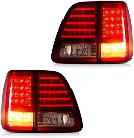 USEKA トヨタ ランドクルーザー ランクル 100 前中期 UZJ100W HDJ100に適した テールライトテールランプリアライト左右セット レッド 新品 2000-2007年 FOR TOYOTA LAND CRUSIER TAIL LIGHTS LAMPS RED COLOR
