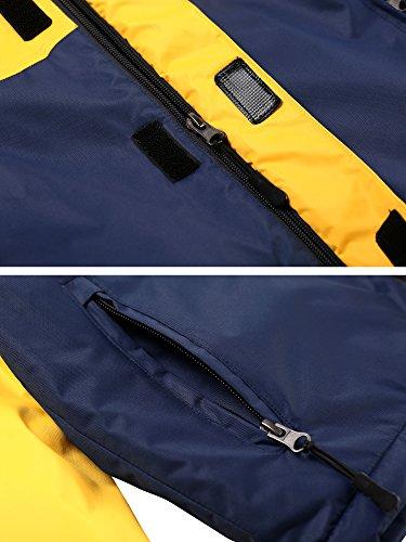 Wantdo Boy's Waterproof Quilted Ski Jacket Cotton Padded Coat Hooded Rainwear(Yellow+Dark Blue, 6/7) by Wantdo (Image #5)