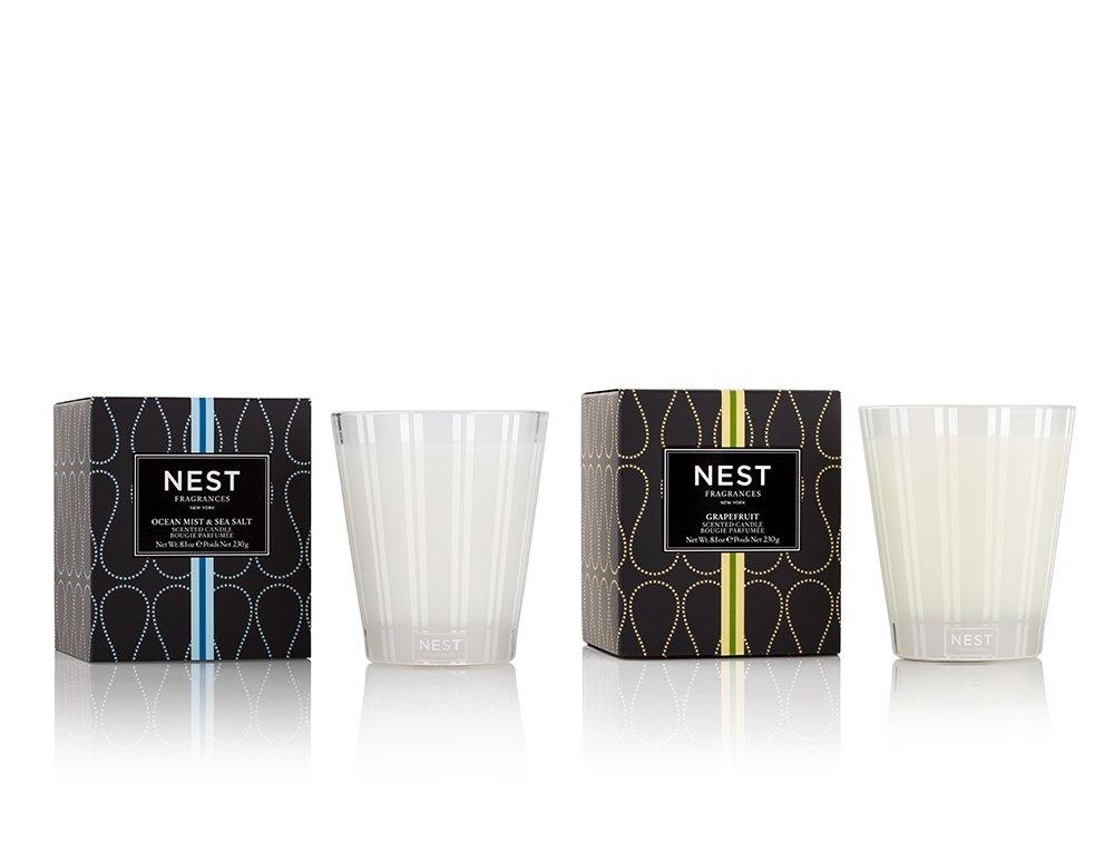 NEST Fragrances Grapefruit/Ocean Mist & Sea Salt Classic Candle Set of 2