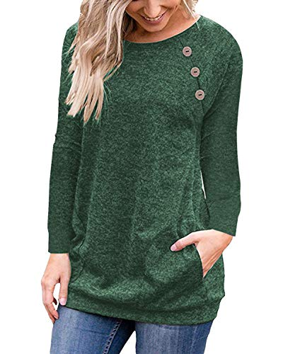 (PinUp Angel Green Women's Casual Long Sleeve Button T-Shirt Tunic Top Solid Blouse Pockets)