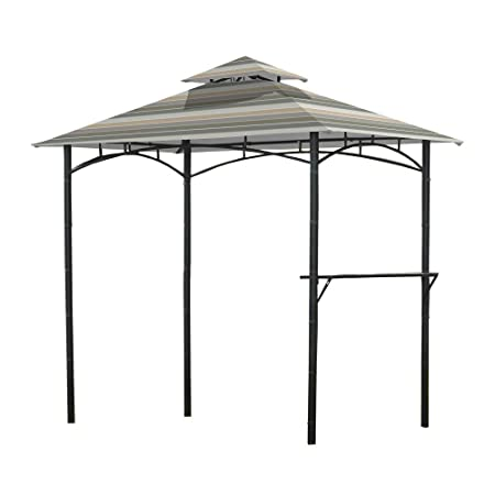 Garden Winds Replacement Canopy for L-GZ238PST-11 Grill Gazebo – Standard 350 – Stripe Stone