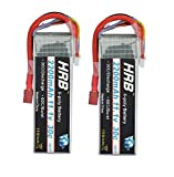 HRB 2 Pack 3S 11.1V 2200mAh 30C RC Lipo Battery Burst 60C T Plug High Rate for Electric Model Part