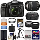 Sony Alpha A68 Digital SLR Camera & 18-55mm with 55-200mm DT Lens + 64GB Card + Battery + Case + Tripod + Filters + Tele/Wide Lens Kit