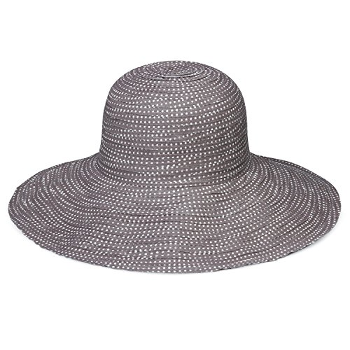 Hat Cap Small (Wallaroo Hat Company Women's Petite Scrunchie Sun Hat - UPF 50+ - Crushable, Made for Small Heads, Grey/White Dots)