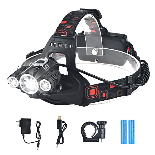 Bright Headlight Headlamp Flashlight Torch LED Waterproof 3 Light 4 Modes CREE T6 XPE With Rechargeable Batteries and Wall Charger For Outdoor Sport, Hiking, Camping