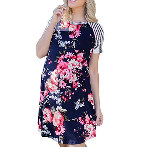 - ADREAML Women's Floral Print Casual Short Sleeve A-line Loose T-Shirt Dresses Knee Length Navy