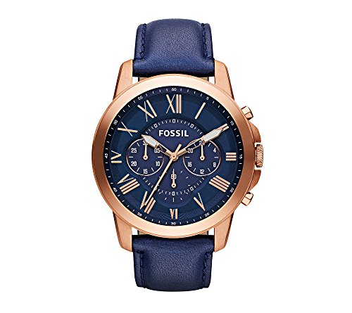 Fossil Men's 44mm Grant Rose Goldtone Chronograph Watch With Navy Leather Strap
