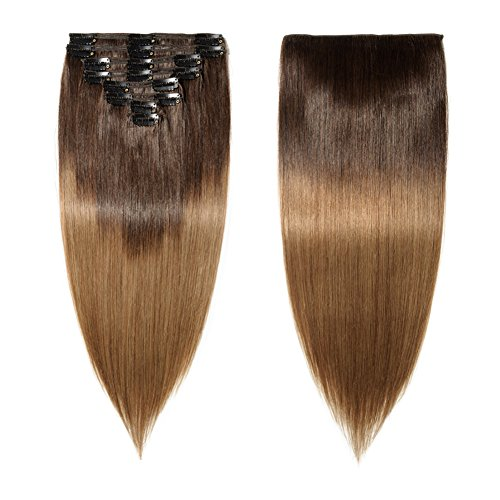 Double Weft 100% Remy Clip in Human Hair Extensions Ombre 2 Tone Balayage Grade 7A Quality Full Head Thick Long Straight 8pcs 18clips(22