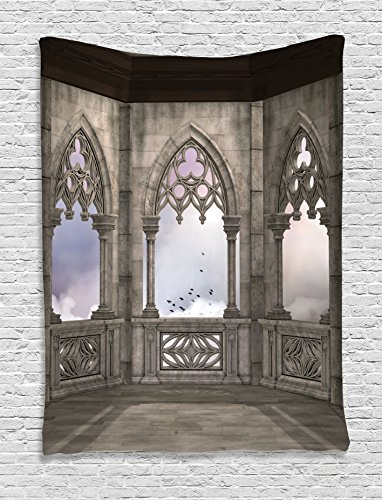 Ambesonne Gothic Decor Collection, Medieval Stone Balcony with Curvings Graphic Design Mystic Middle Age Legend Story Print, Bedroom Living Room Dorm Wall Hanging Tapestry, Grey Purple