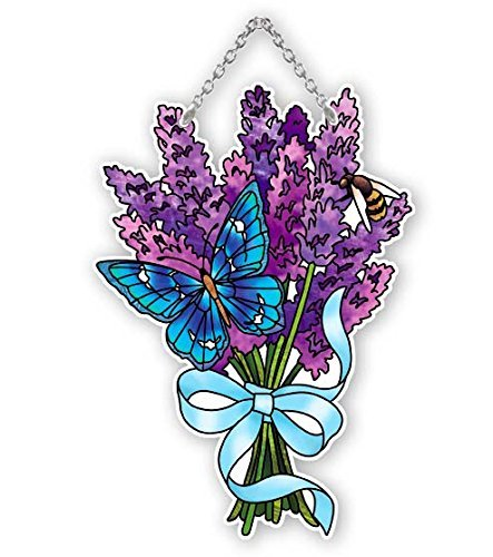 Butterfly and Lavender Painted Glass Suncatcher by Joan Baker 4.5