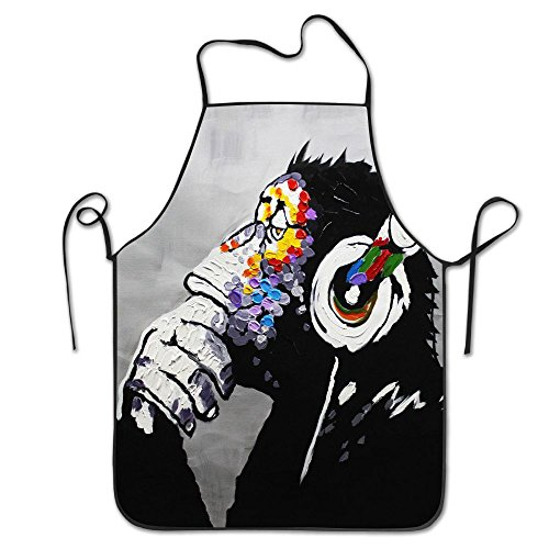 Modern Gorilla Monkey Music Restaurant Home Kitchen Bib Apron For Women And Men, Apron Bib For Cooking, Grill And Baking, Crafting, Gardening - Adjustable Neck Strap (Phantom Box Music Monkey Of The Opera)