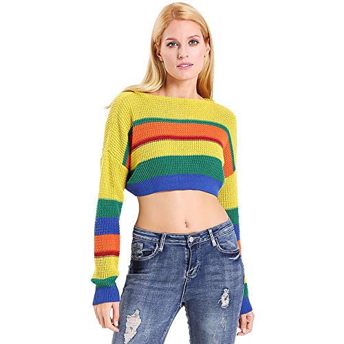 - ENIDMIL Womens Long Sleeve Bandage Lace Up Pullover Sweater Causal Knit Jumper (M, Colorblock Crop Top Sweater)