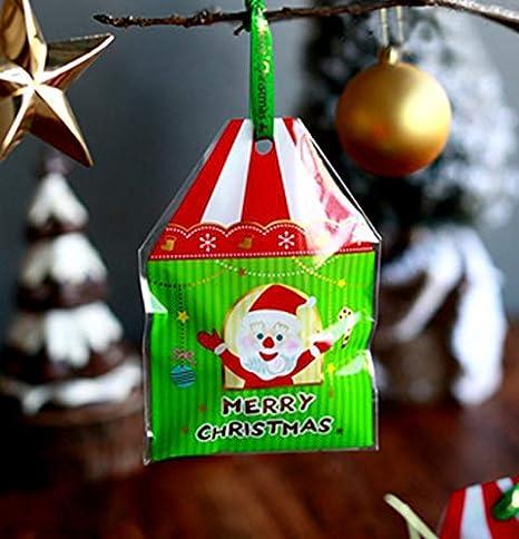 3a27178d2ae4 Amazon.com: XLPD Small House Shape Christmas Cookie Bags,Cellophane ...