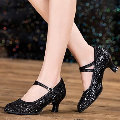 Cubana 5 Personalizável Heelprofessional Outdoor Eu36 Moderna Mulheres Uk3 Xiamuo De Us5 35 5 Couro Couro Dançando Sapatos Não Saltos Prata Cn Patentes De FqORx7