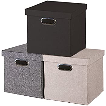 Foldable Storage Cube with Lid, Cover to Keep Everything Neatly Stored, Easy Carry Handles (black)