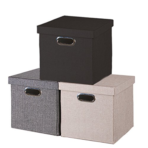 UPC 636134932827, Foldable Storage Cube with Lid, Cover to Keep Everything Neatly Stored, Easy Carry Handles (beige)