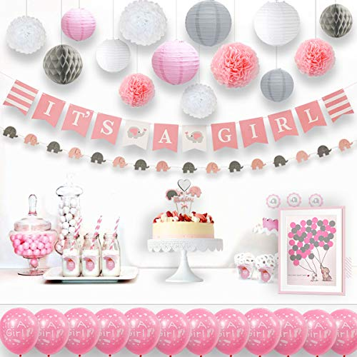 135 Pieces Baby Elephant Baby Shower Decorations Girl with Elephant Garland Banner Gift Tags Balloons Cake Topper Lanterns Sash Honeycomb Pom Poms and Guest Book Kit (Pink White Grey) by -