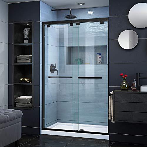 DreamLine Encore 44-48 in. W x 76 in. H Frameless Semi-Frameless Bypass Shower Door in Satin Black, SHDR-1648760-09 (46 Frameless Shower Door)