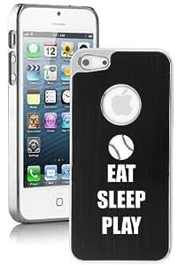 Apple iPhone 5c Aluminum Plated Chrome Hard Back Case Cover Eat Sleep Play Baseball Softball (Black)