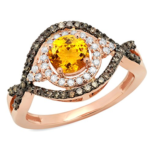 14K Rose Gold 6 MM Citrine, Champagne & White Diamond Bridal Engagement Ring (Size (Rings : Champagne Citrine Ring)
