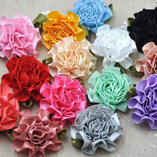 FidgetKute 20 U Pick Ribbon Flower Carnation Appliques Sewing/Craft/Wedding Lots B43 ()