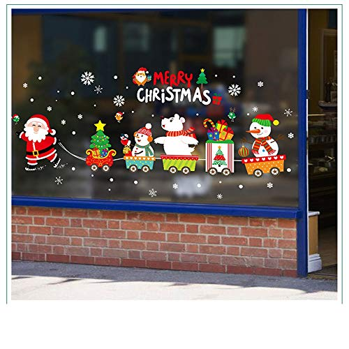 Sunmiao Adornos navideños - Pegatinas navideñas para Ventana de Navidad - Muñeco de Nieve, Papá Noel, árbol de Navidad...