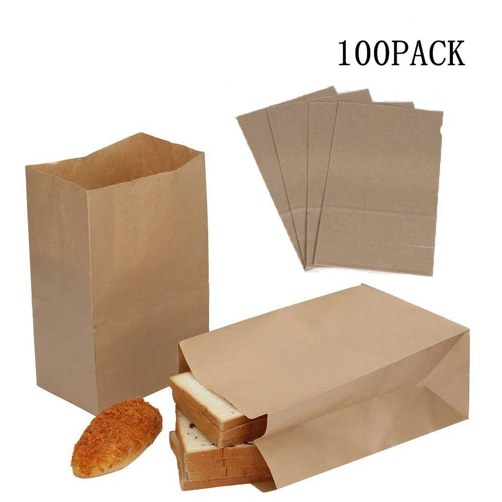 Dproptel 100 Pack Kraft Food Bags Packaging Paper Bread Loaf Bakery Bag Lunch Bags Durable Kraft Paper Bags, Snack Bags, Bread Bags, Takeout bags, 100% Recycled Kraft Paper (White)