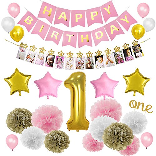 First Birthday 18' Foil Balloon - LUCK COLLECTION Pink Gold 1st Birthday Girl Decorations Kits, Mothly Milestone Photo Banner from Newborn to 12 Months for Baby's First Birthday Decorations