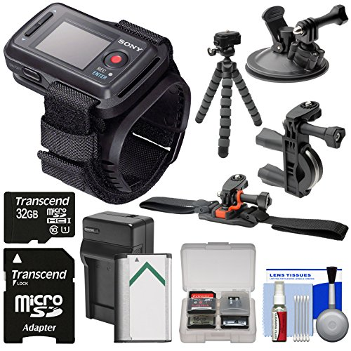 Sony RM-LVR2 Live Wireless Wristband Remote + 32GB + Handlebar, Helmet & Suction Cup Mounts + Battery for Action Cam AS20, AS100V, AS200V & X1000V by Sony