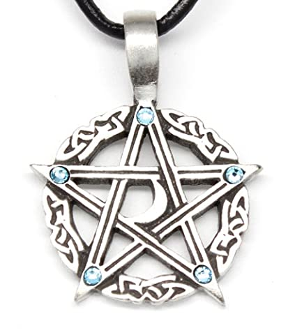 Pewter Pentagram Crescent Moon Pendant on Leather w/5 Swarovski Crystal Aqua Blue March Birthday (Magical Crescent Moon Necklace)