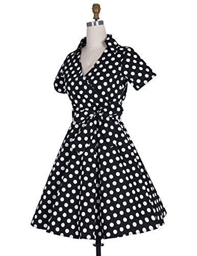 Dresstells Rockabilly Dress 1950s Retro Polka Dots Short Pleated Skirt Petticoat Cocktaildress Black Dot