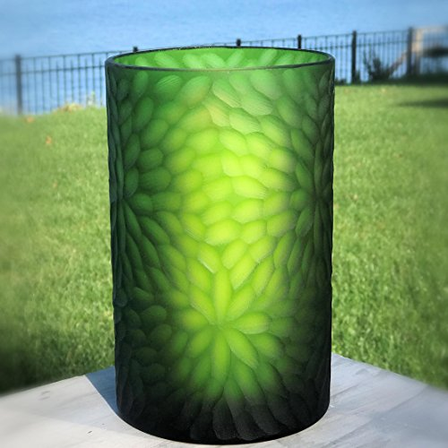 Whole House Worlds The Naturally Modern Flower Petal Hurricane Candle Holder or Vase, Art Glass, Green, Translucent, Incised Textured Glass, Petal, 8 H Inches Tall, By (Glass Art Glass Holder Candle)