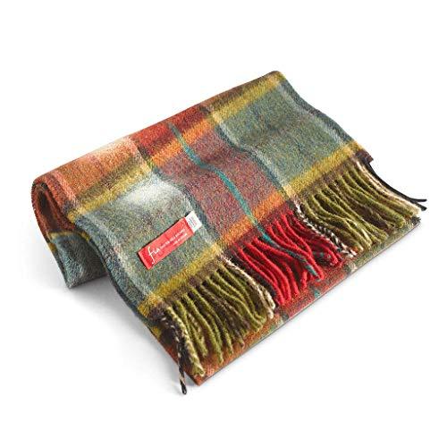 (FIA Soft and Warm Irish Wool Plaid Scarf for Men, 12
