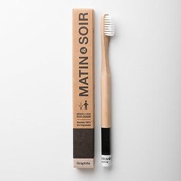 Cepillo de dientes de bambú moso ecológico de color de madera natural, dureza media, color grafito: Amazon.es: Salud y cuidado personal