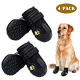 PK.ZTopia Waterproof Dog Boots, Dog Outdoor Shoes, Dog Rain Boots, Running Shoes for Medium to Large Dogs with Two Reflective Fastening Straps and Rugged Anti-Slip Sole (3.15' x 2.76',Black 4PCS)