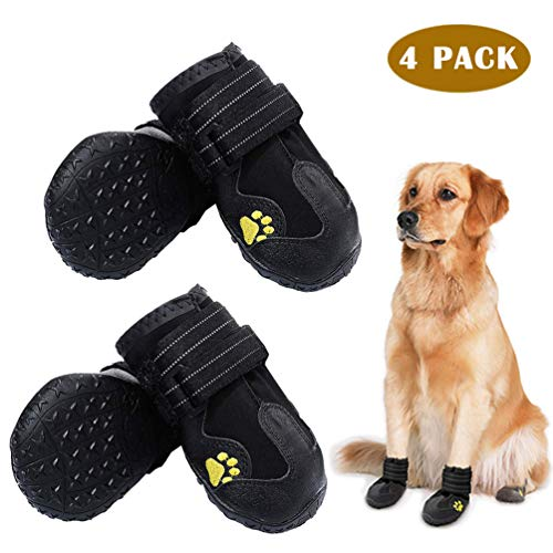 "PK.ZTopia Waterproof Dog Boots, Dog Outdoor Shoes, Dog Rain Boots, Running Shoes for Medium to Large Dogs with Two Reflective Fastening Straps and Rugged Anti-Slip Sole (2.95"" x 2.52"",Black 4PCS)"