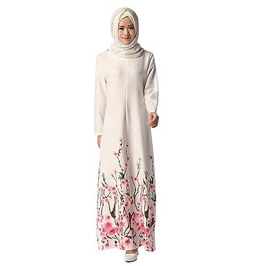 7e60474b4fea Amazon.com: Muslim Formal Gown Dress Dubai Kaftan Women Long Sleeve Arabic Maxi  Dress Abaya Islamic Clothing Girls Jalabiya Caftan: Clothing