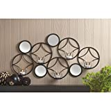 Candles MID-CENTURY MODERN WALL SCONCE Candle Light New Gift Circles Round Iron Glass Circular Mirror Mirrors