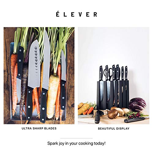 Elever Knife Set - Kitchen Knife Set with Block, 13 Kitchen Knives with Knife Sharpener, Chef Knife, Kitchen Scissors, Steak Knives. Modern Knives Kitchen Set, House Kitchen Decor, Cutlery Set Gift by Elever (Image #6)